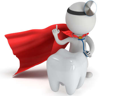 Superhero médecin avec un stéthoscope et un miroir sur sa tête bilan dent saine. 3d render homme isolé sur blanc. Médecine et santé notion dentaire. Banque d'images - 39245987