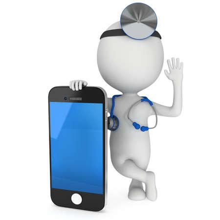 Arts met een smartphone. Stethoscoop en spiegel op zijn hoofd. 3d render man geïsoleerd op wit. Geneeskunde, gezondheidszorg en mobiele telefoon concept.