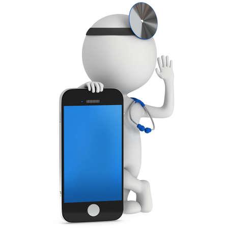 スマート フォンで医師。聴診器と彼の頭の上のミラー。3 d レンダリング男は、白で隔離。医学、医療、携帯電話のコンセプトです。 写真素材