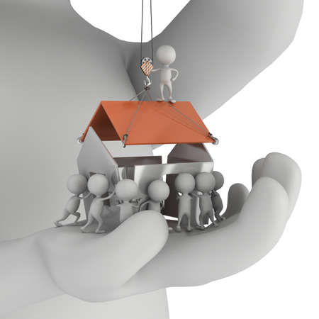 real leader: Small people build house on the palm of big man. Business, teamwork, assembling, real estate concept. 3D render on white.
