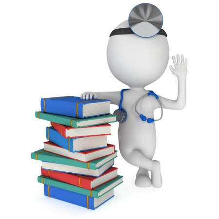 scientific literature: Doctor with a stethoscope and mirror on his head stand near books. 3d render man isolated on white