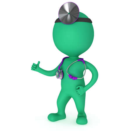 ent: Doctor with a stethoscope and mirror on his head showing thumbs up. 3d render man isolated on white