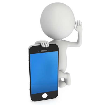 3D-weiße Menschen mit Smartphone. 3D-Darstellung auf weißem Hintergrund isoliert Standard-Bild