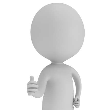 affirmative: Man showing thumbs up over white background. 3D render. Stock Photo