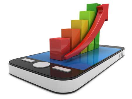 Farbigen Balkendiagramm mit roten Pfeil auf Smartphone. 3D-Darstellung auf weißem Hintergrund isoliert
