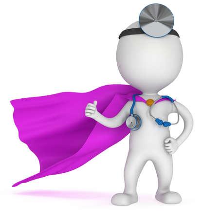 Superheld-Arzt mit einem Stethoskop und Spiegel auf dem Kopf zeigen, Daumen hoch. 3D Mann isoliert auf weißem render