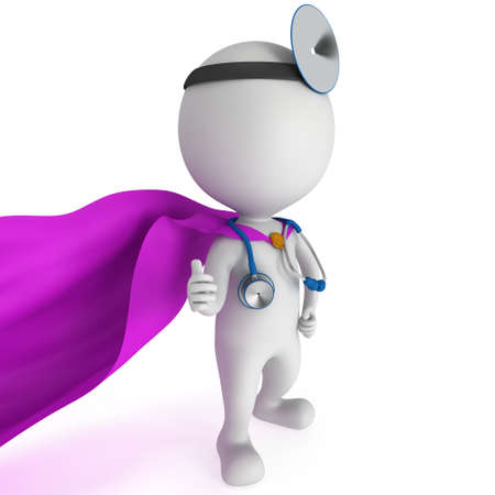 ent: Superhero Doctor with a stethoscope and mirror on his head showing thumbs up. 3d render man isolated on white