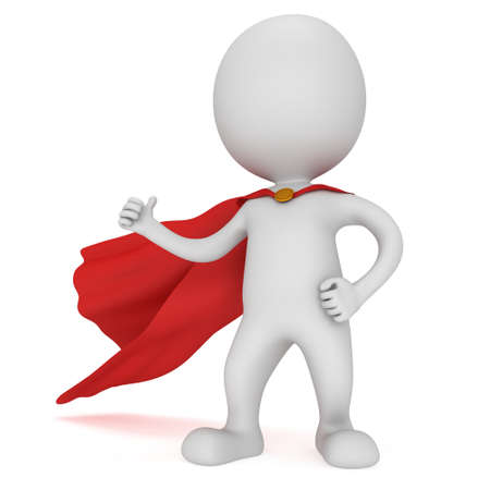 3d man - brave superhero with red cloak show thumbs up. Isolated on white Stock Photo - 41084218