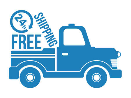 24h: Free shipping car blue icon on white. Vector. Illustration