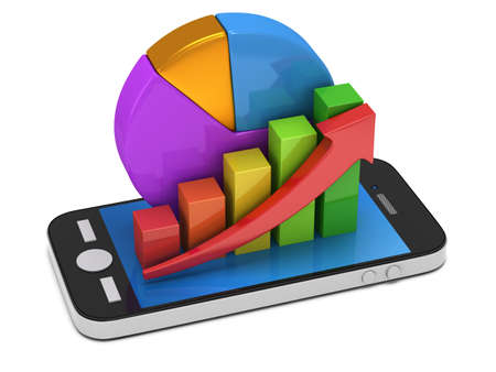 smartphone apps: 3d colored bar graph with red arrow growing up and pie chart on smartphone. Mobile apps concept. 3D render isolated on white background