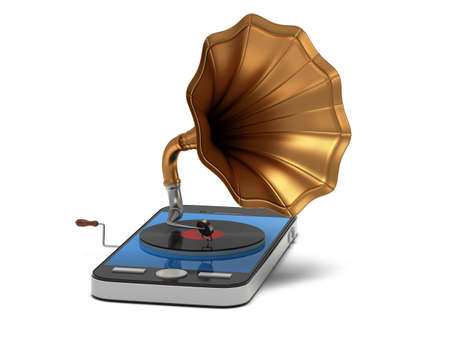 mobile apps: Smartphone music. Old vintage gramophone with vinyl record in mobile phone. Mobile apps concept. 3D render isolated on white background Stock Photo