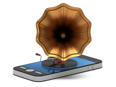 smartphone apps: Smartphone music. Old vintage gramophone with vinyl record in mobile phone. Mobile apps concept. 3D render isolated on white background Stock Photo