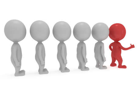 people in row: Red Leader showing thumbs up in front of white people row over white background. 3D render.
