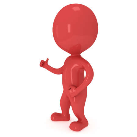 lifted hands: Red man showing thumbs up over white background. 3D render. Stock Photo