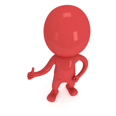 hombre rojo: Red man showing thumbs up over white background. 3D render. Foto de archivo