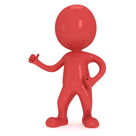 affirmative: Red man showing thumbs up over white background. 3D render. Stock Photo