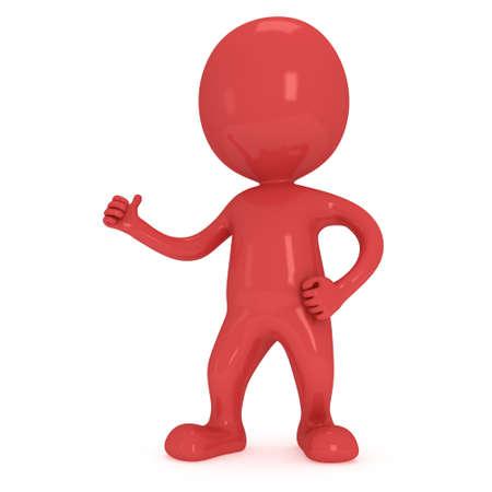 uomo rosso: Uomo rosso mostrando pollice in alto su sfondo bianco. Rendering 3D. Archivio Fotografico