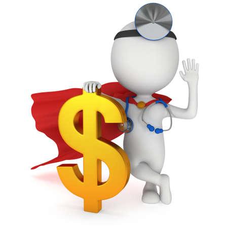 3 차원 흰색 슈퍼 의사가 황금 달러 기호 스탠드. 엄지 손가락. 렌더링에 격리 된 흰색. 의료 보험 개념. 스톡 콘텐츠