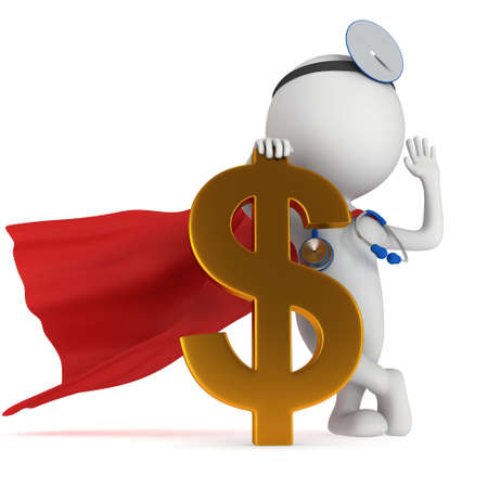 ent: 3d white super doctor stand with golden dollar sign. Thumbs up. Render isolated on white.  Medical insurance concept.