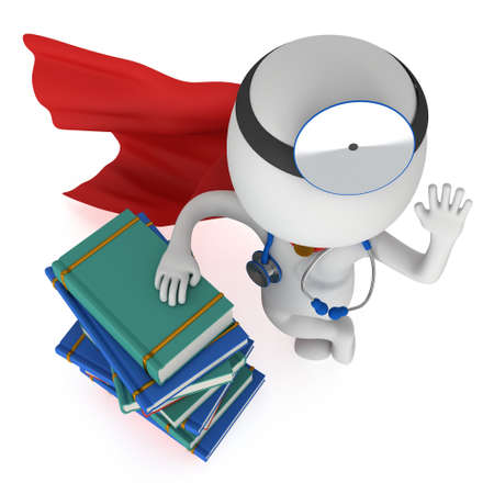 scientific literature: Superhero Doctor with a stethoscope and mirror on his head stand near books. 3d render man isolated on white. Medicine and healthcare education concept.