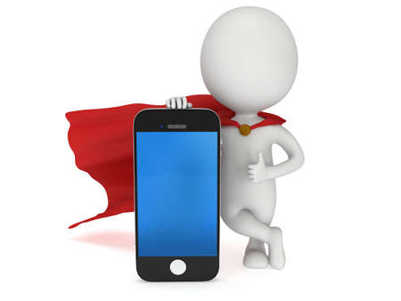 3d superhero with smartphone. 3D render isolated on white background. Communication and mobile concept. photo
