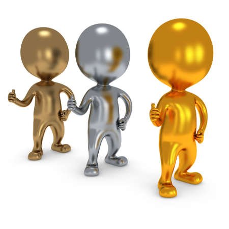 lifted hands: Gold Silver Bronze People showing thumbs up over white background. 3D render.