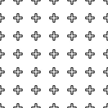 healt: Vector seamless pattern. Tiling ornament. Endless texture.  Seamless monochrome background on white.