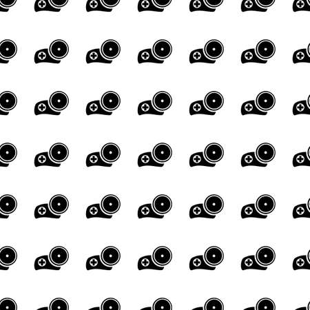 medic: Medic hat with mirror vector icon seamless pattern, tiling ornament on white.