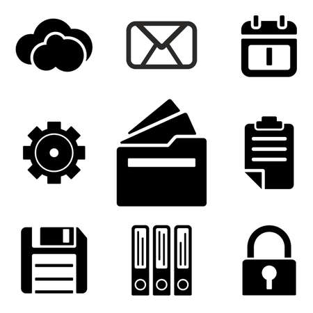 the white back: Files web and mobile icons collection isolated on white back. Vector symbols of documents, lock, gear and etc
