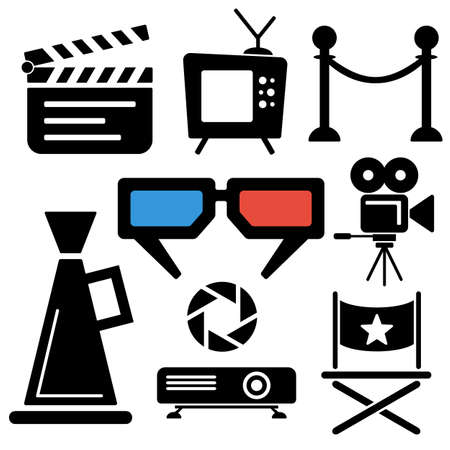 Cinema web and mobile icons collection isolated on white back. Vector symbols of camera, tv, clapboard etc Illustration