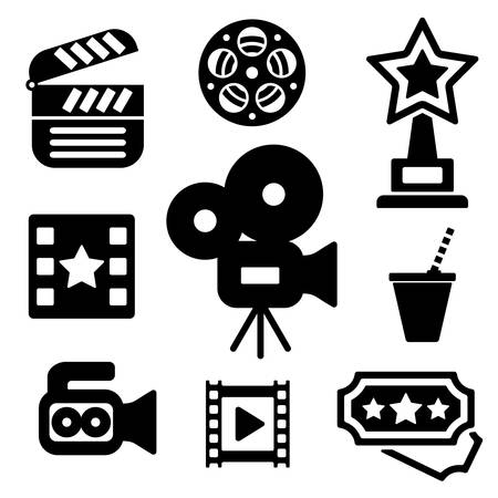 Cinema web and mobile icons collection isolated on white back. Vector symbols of camera, award, clapper board etc