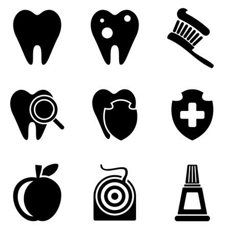 lens brush: Dental web and mobile icons collection isolated on white back. Vector symbols of aching tooth, toothbrush, apple, dental floss and etc