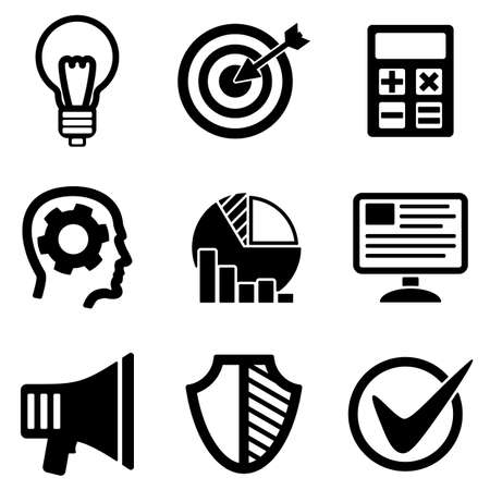 the white back: Development web and mobile logo icons collection isolated on white back. Vector symbols of shedule, target, head etc