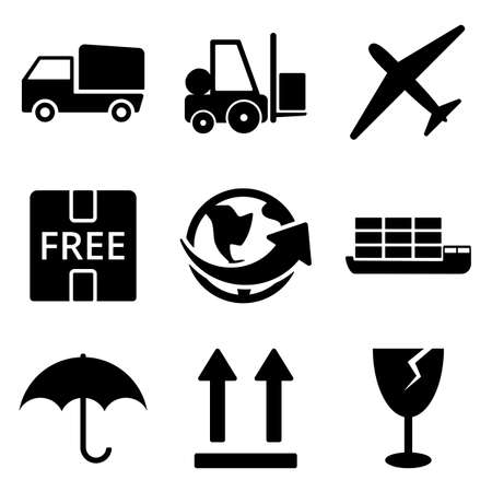 the white back: Delivery web and mobile icons collection isolated on white back. Vector symbols of loader, world, plane etc Vectores