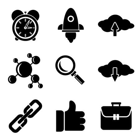 the white back: SEO web and mobile logo icons collection isolated on white back. Vector symbols of rocket, clouds, like etc Vectores