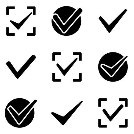 Check marks web and mobile icons collection isolated on white back. Vector symbols of ticks in boxes conceptual of confirmation acceptance positive passed voting agreement true or completion of tasks on a list