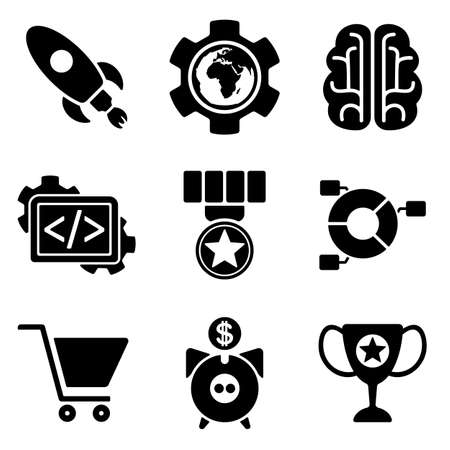 up code: SEO web and mobile icons collection isolated on white back. Vector symbols of rocket, globe, profit etc