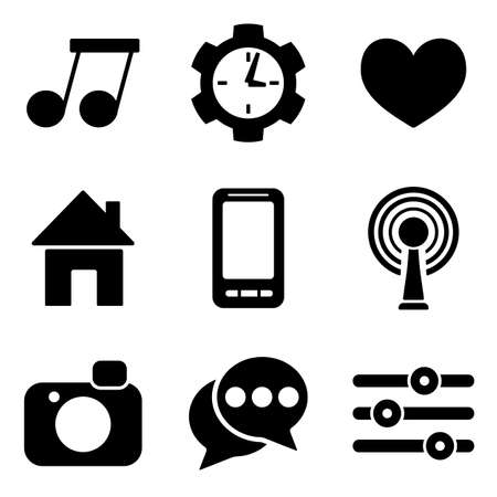 Social media web and mobile icons collection isolated on white back. Vector symbols of home, smartphone, chat bubbles etc