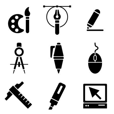 the white back: Drawing tools web and mobile icons collection isolated on white back. Vector symbols of education, learning, drawing and painting Vectores