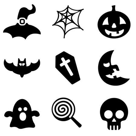 mobile icons: Halloween web and mobile icons collection isolated on white back. Vector symbols of pumpkin, skull, moon etc Illustration