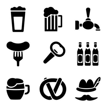 stein: Beer web and mobile icons collection isolated on white back. Vector symbols of mug, opener, sausage etc