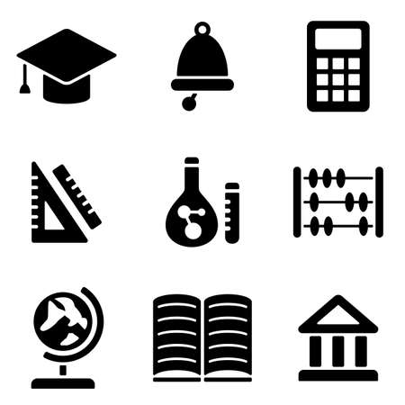 the white back: Back to school web and mobile icons collection isolated on white back. Vector symbols of education and learning