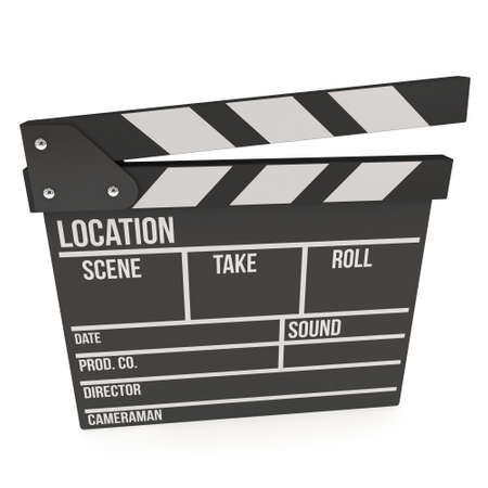 directors cut: Cinema clapperboard. 3D render isolated on white. Filmmaking and video production device.