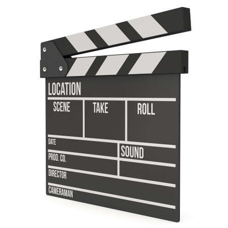 filmmaking: Cinema clapperboard. 3D render isolated on white. Filmmaking and video production device.