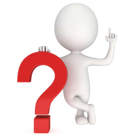 interrogativa: Man with notice gesture near red question mark. 3D render isolated on white background. FAQ concept.
