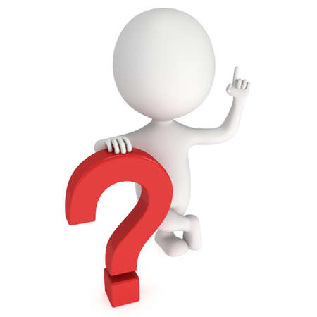 赤い疑問符近くお知らせジェスチャーを持つ男。3 D のレンダリングに孤立した白い背景。よくある質問コンセプト。 写真素材