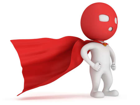 avenger: 3d man brave superhero with red cloak and mask. Isolated on white Foto de archivo