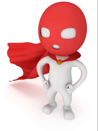 cloak: 3d man brave superhero with red cloak and mask. Isolated on white Stock Photo