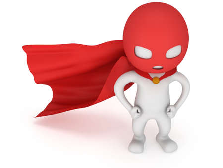 vigilante: 3d man brave superhero with red cloak and mask. Isolated on white Stock Photo