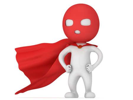 avenger: 3d hombre valiente superhéroe con capa roja y una máscara. Aislado en blanco